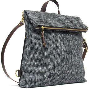 Wanderlust 4-Way Classic – Herringbone man bag in grey Harris Tweed can be conve… – *About style & accessories*