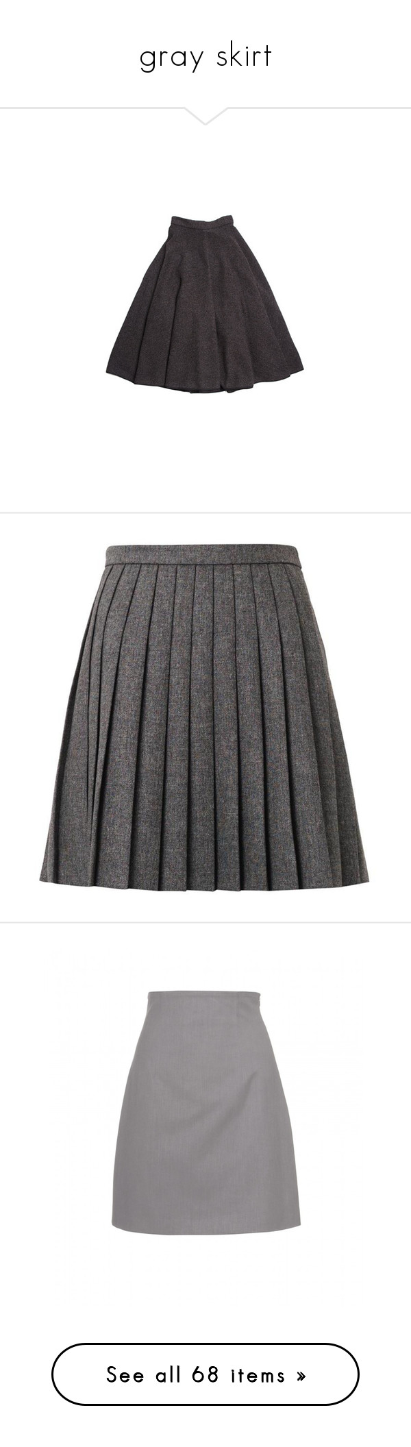 """""""gray skirt"""" by rebellious-ingenue ❤ liked on Polyvore featuring skirts, bottoms, louis vuitton, saias, mini skirts, saint laurent, dark grey, short skirts, layered skirt and high waisted pleated skirt"""