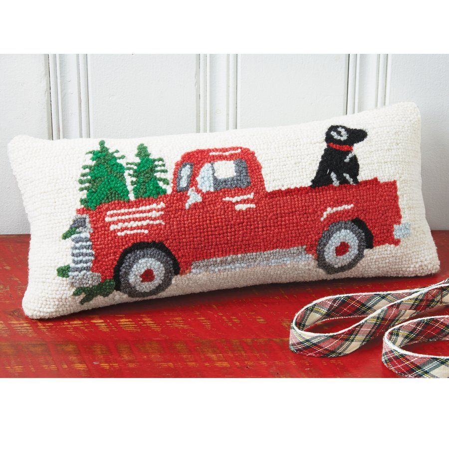 Christmas Truck and Dog Hooked Accent Lumbar Pillow