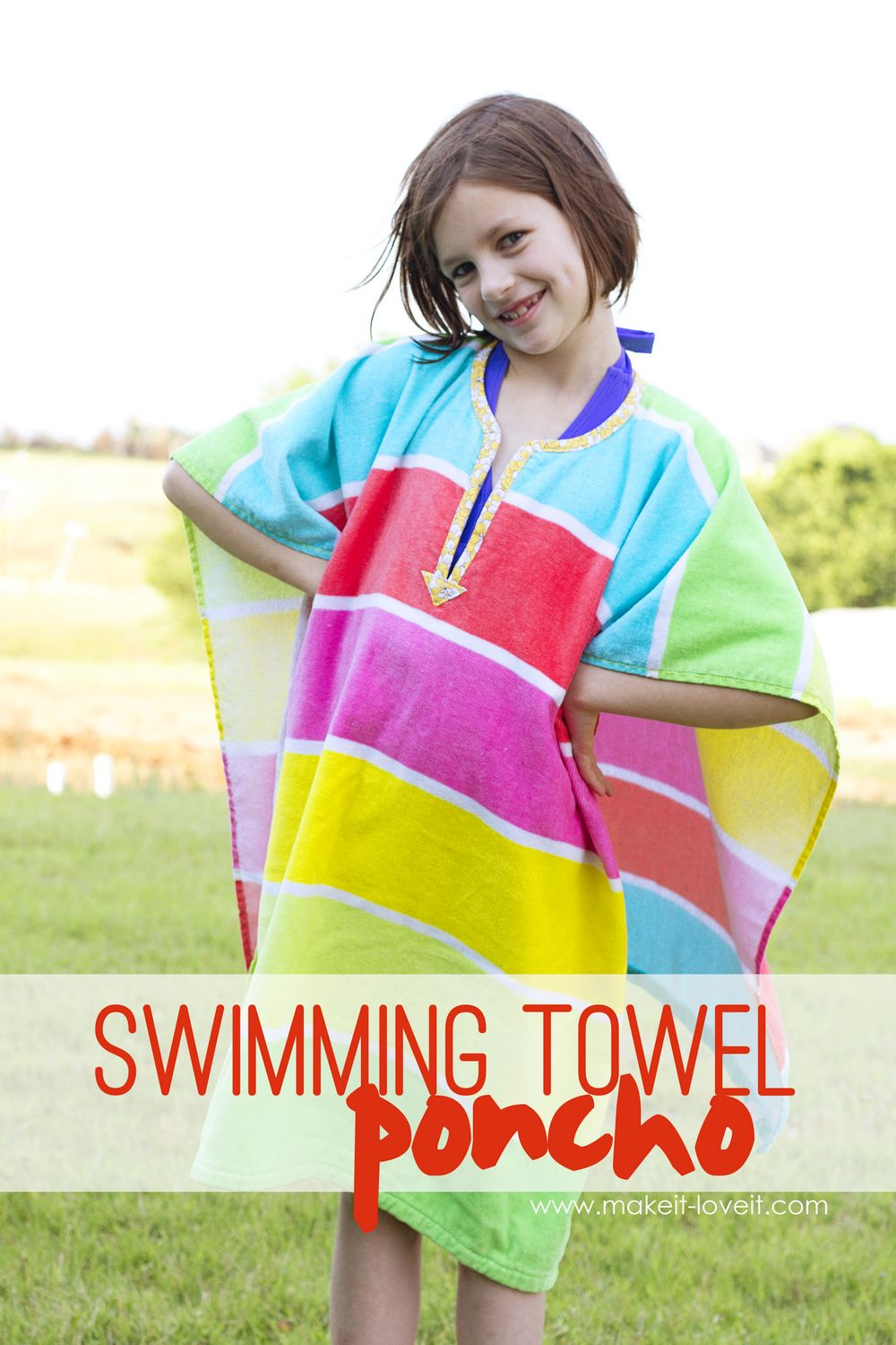 37692a7caef DIY Swimming Towel Poncho.....keep your towel up and off the ground, while  kids have their hands free!