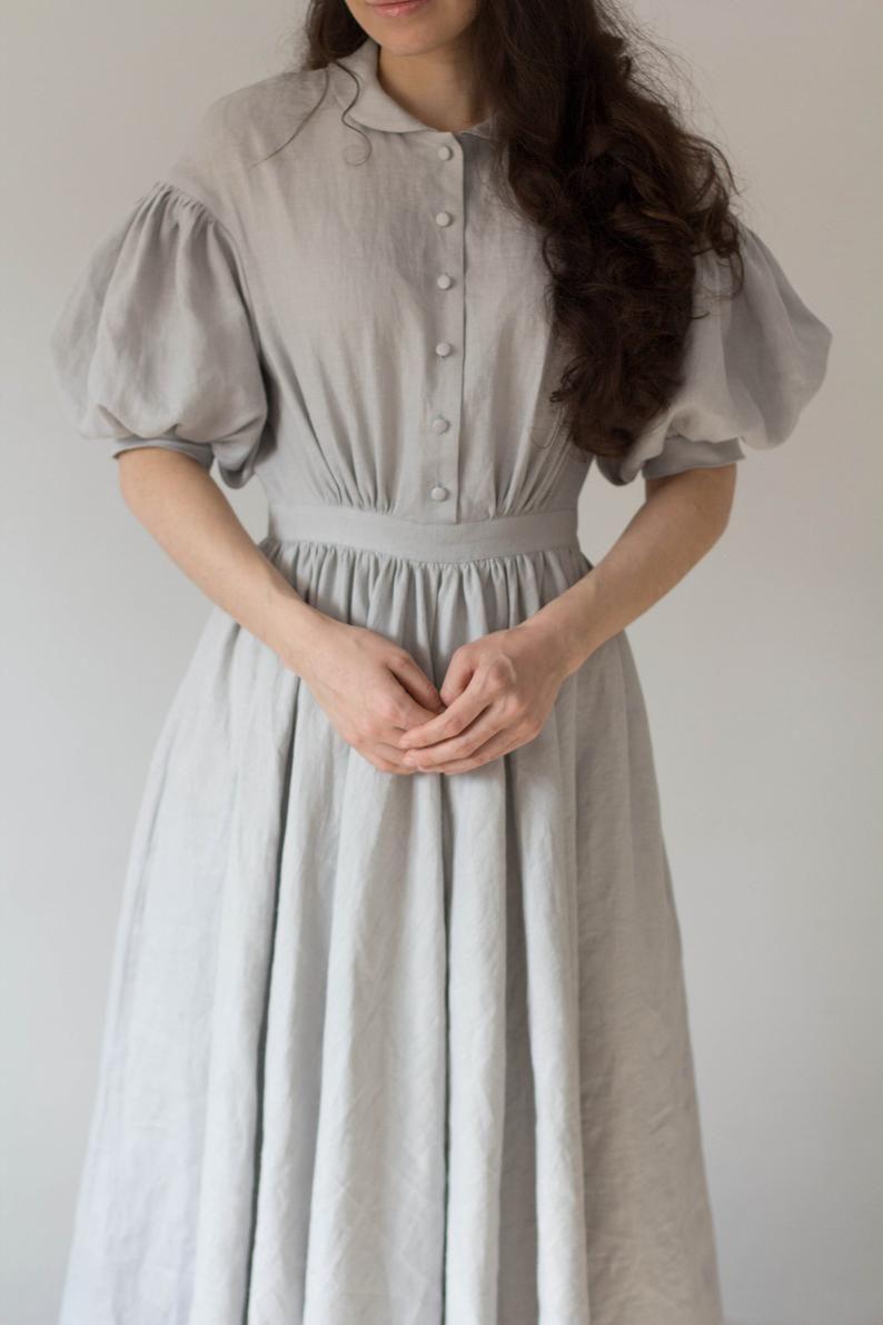 Meg Dress In Grey With Short Sleeves Linen Dress Edwardian Dress Classic Dress Fashion [ 1191 x 794 Pixel ]