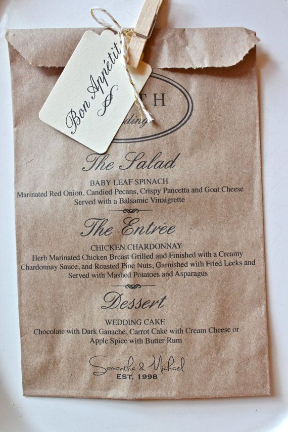 Wedding Menu Favor Bags Personalizedcandy Buffet By Rootedmanor