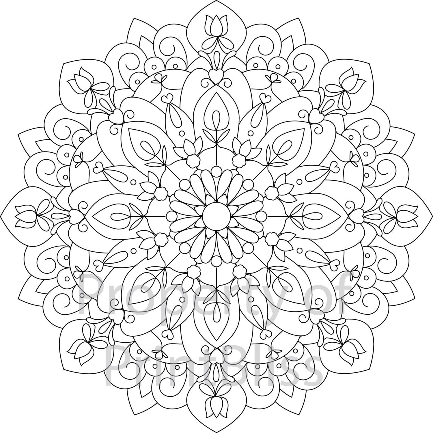 10 Flower Mandala Printable Coloring Page By Printbliss On Etsy