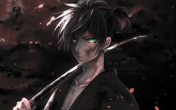 Download wallpapers Yato, darkness, manga, katana