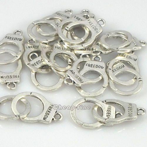 10pcs Tibetan Silver Tone Freedom Handcuffs Connectors Jewelry Finding 15x24mm | eBay