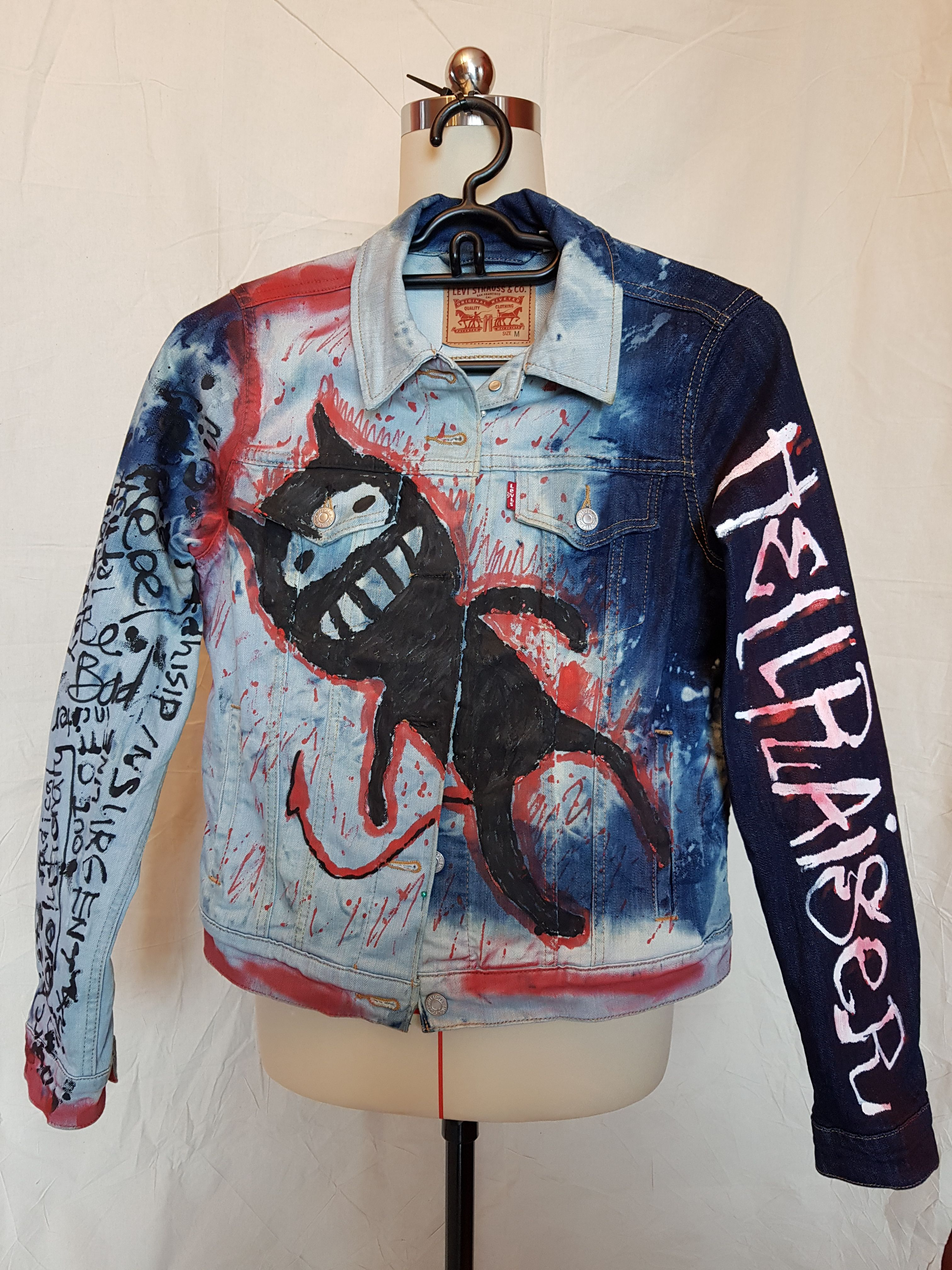 For Sale Denim Jacket Cross Bleached Added With Spray And Acrylic Paint One Of A Kind Design Vintage Street Fashion Clothes Design Customised Denim Jacket [ 4032 x 3024 Pixel ]