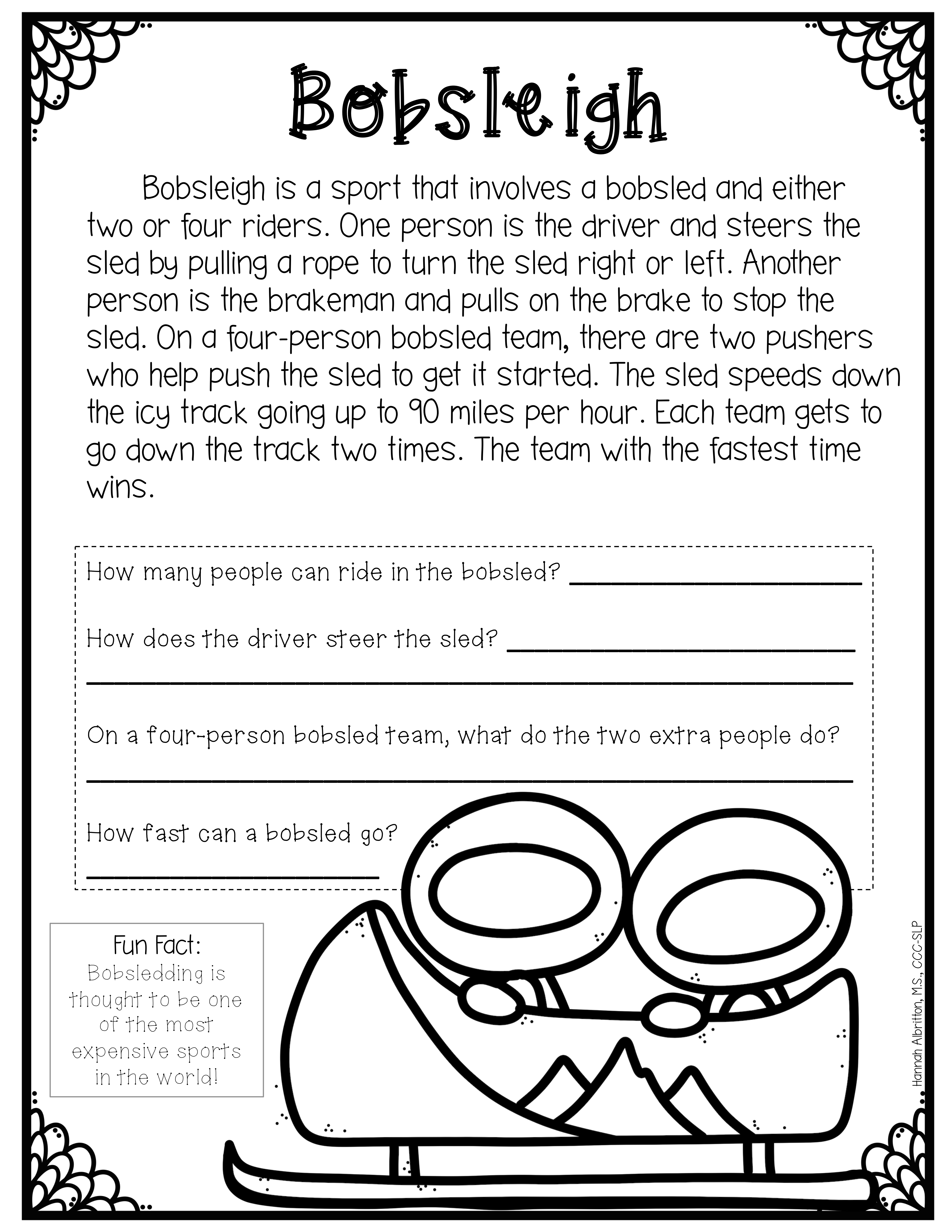Winter Games Nonfiction Reading Comprehension And