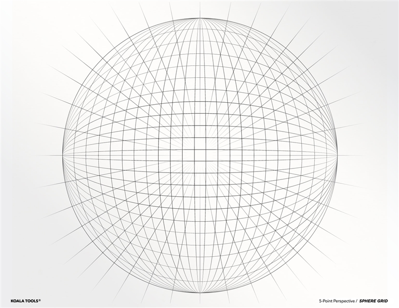 5 Point Perspective Sphere Grid Transparency Sheet 5 Point Perspective Point Perspective Perspective Drawing