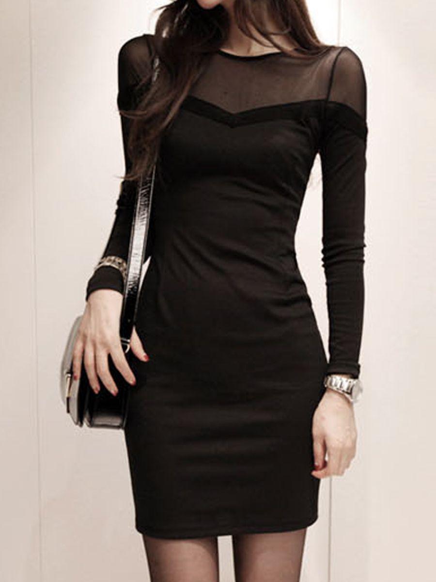 Round Neck Patchwork Plain Bodycon Dress #BodyconDresses