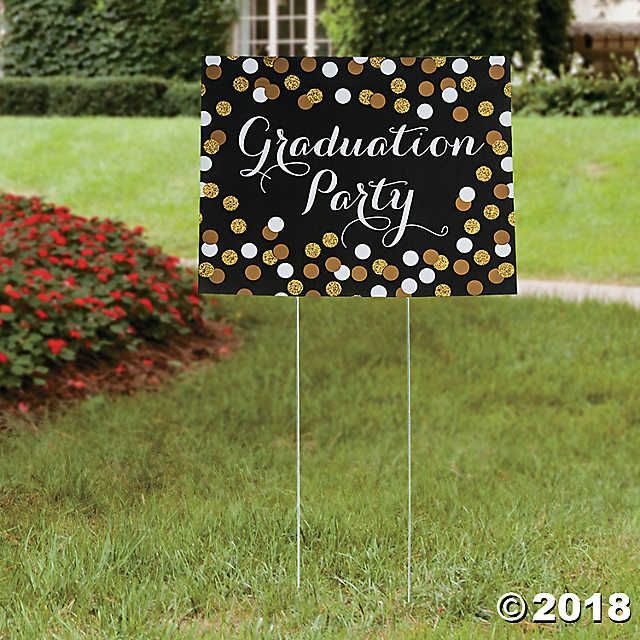 Black & Gold Graduation Yard Sign | Oriental Trading #graduationparties