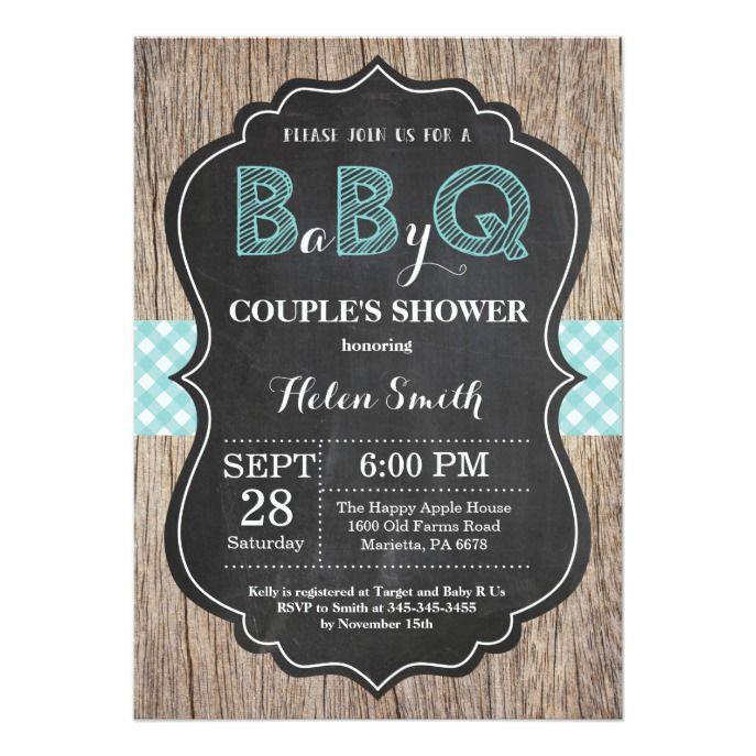 BBQ Baby Shower Invitation Baby Q Backyard Aqua