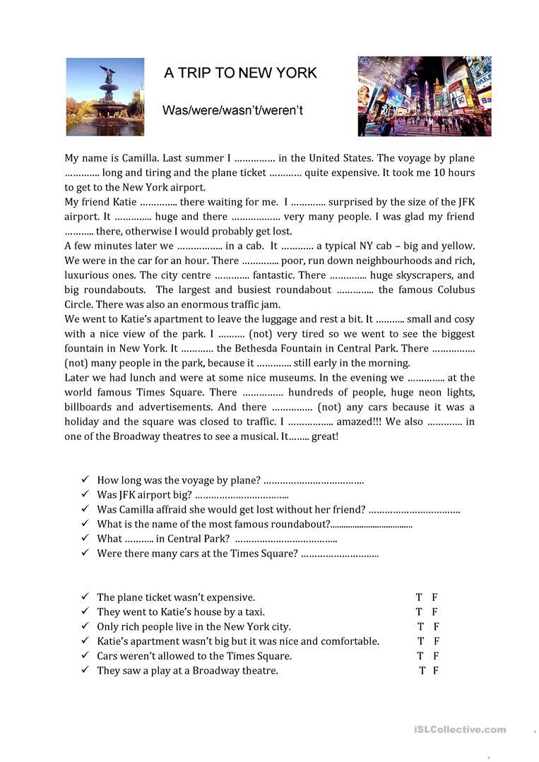 Was Were Practice And Reading Comprehension English Esl Worksheets For Distance Learning And Lectura De Comprensión Descripcion En Ingles Comprensión Lectora