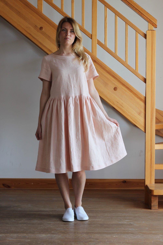 c1a58ce7ecd Linen dress. Peach linen dress. White linen dress. Yellow linen dress.  Oversize linen dress. Round neckline dress. by Maliposhaclothes on Etsy