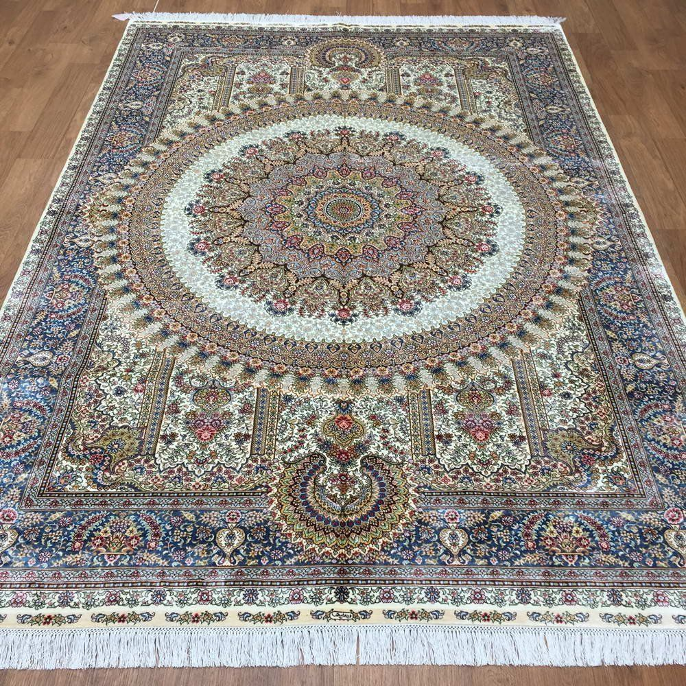 Yuchen new 5 5 39 x8 39 hand knotted silk persian for Living room rugs amazon