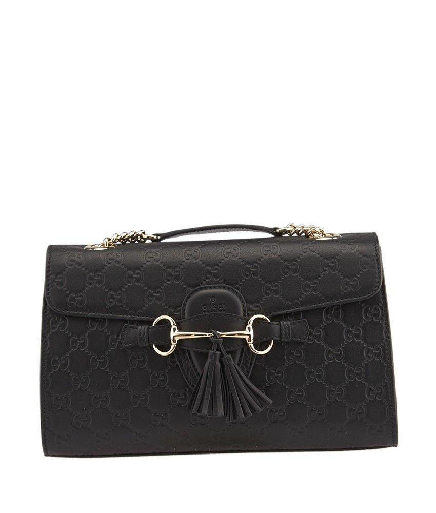 9fa11d53ae8d09 Gucci Emily Black Guccissima Leather Shoulder Bag | Gucci | Leather ...