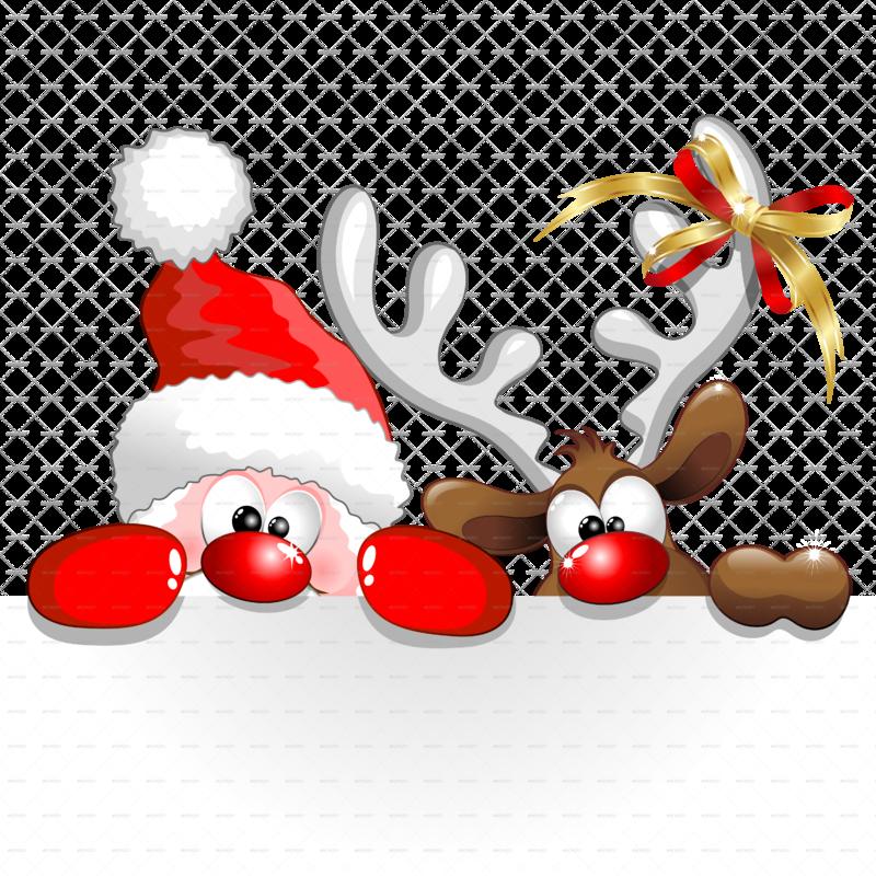 A funny christmas santa and reindeer cartoon png for Funny reindeer christmas cards