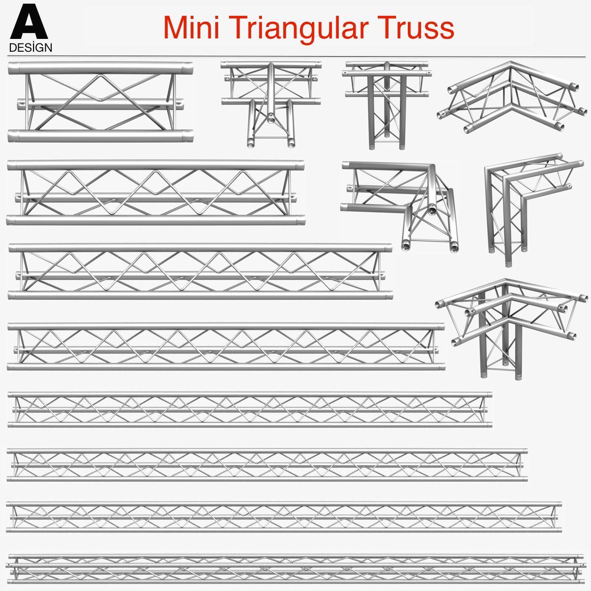 Mini Triangular Truss Collection 14 Modular 3d Model Mini Triangular Truss Collection 14 Modular Pieces Modula 3d Model Roof Truss Design Exhibition Stand