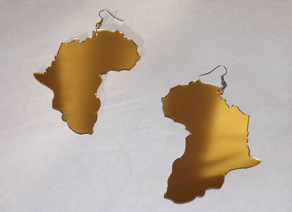4 Acrylic Africa Map Earrings Colors Silver Red Gold Africa