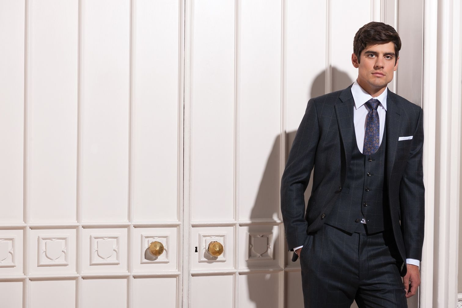 Alastair Cook England Cricket Captain Suited And Booted Wearing An Austin Reed Bespoke Suit Alastair Cook Bespoke Suit Austin Reed