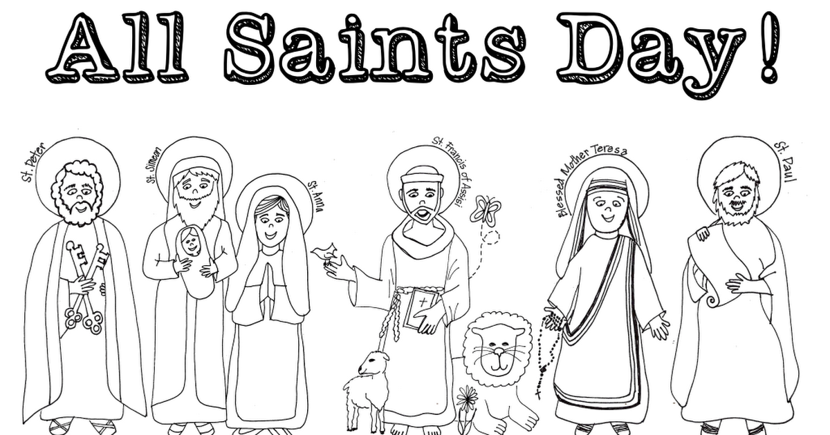 Happy All Saints Coloring Page Pdf Cathechisme