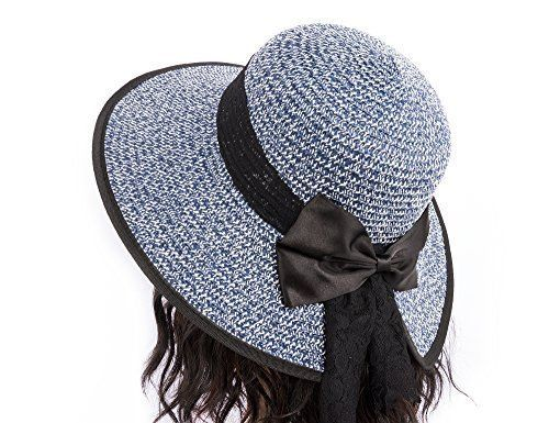9c75cb01859 Hollosport Fashion Sun Hats for Women Straw Hat Ladies Wide Brim Beach  Girls  Hollosport