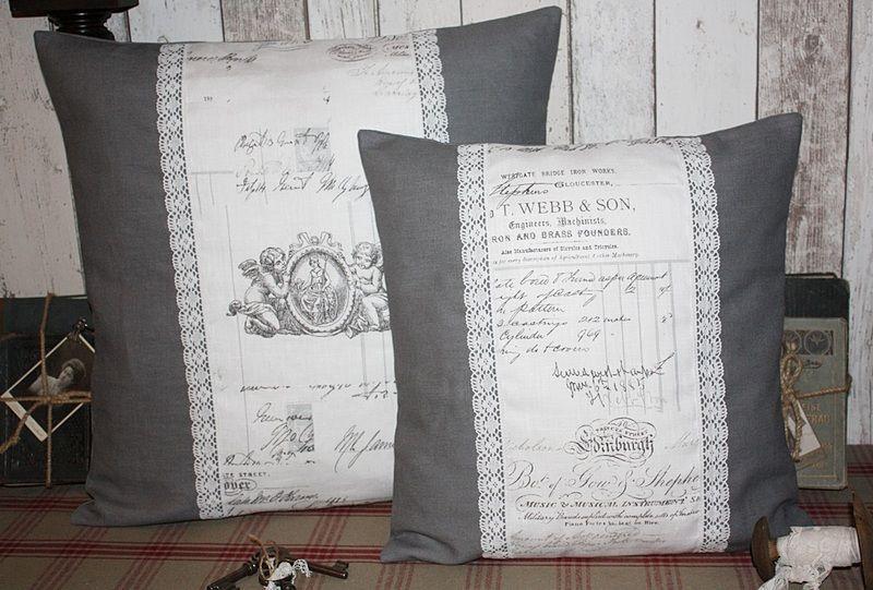 kissenbez ge kissen h lle leinen script grau 50x50 cm shabby ein designerst ck von 1001deko. Black Bedroom Furniture Sets. Home Design Ideas