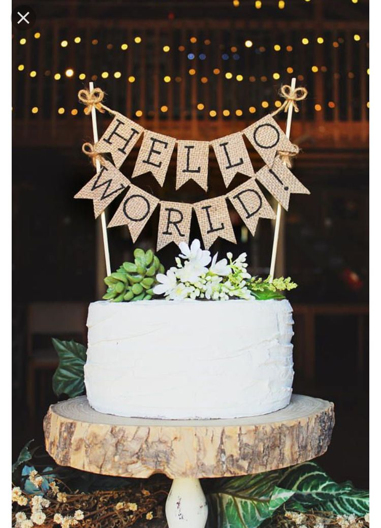 Baby Shower Cake Toppers Cakes Burlap Rustic Gender Neutral Decorating Boho