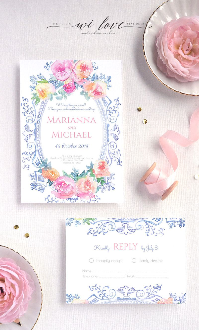 Blush Pink And Navy Blue Vintage Watercolor Wedding Invitation Antique Mirror Bohemian Suite With Colourful Roses Rustic: Wedding Invitation Antique Mirror At Reisefeber.org