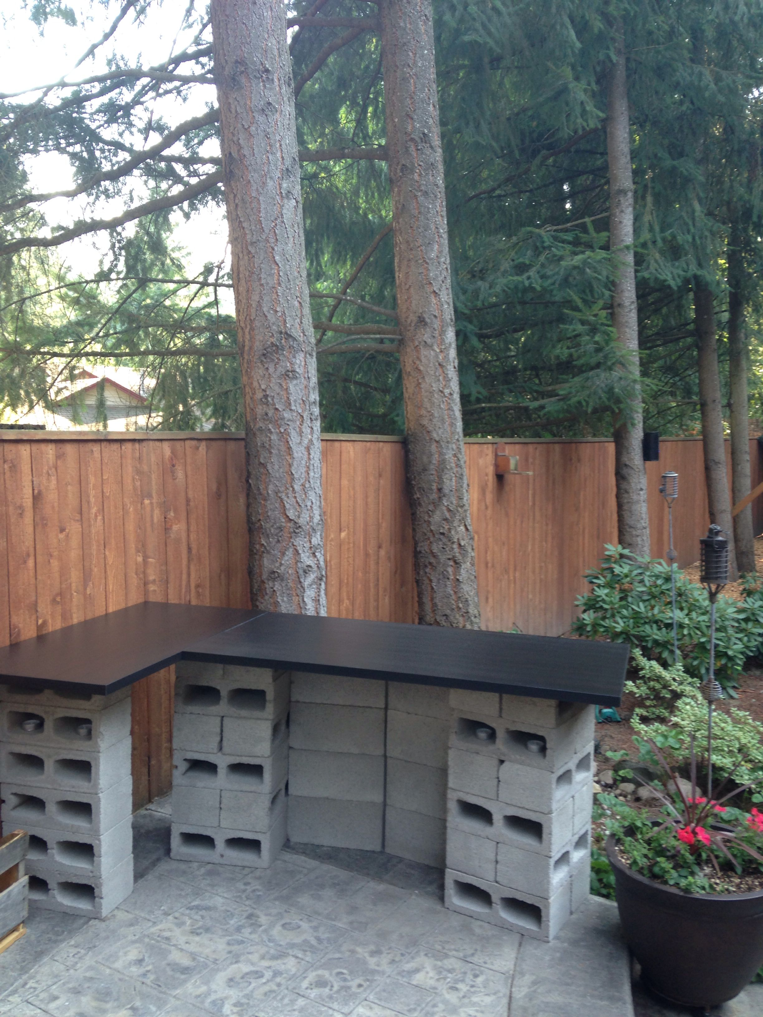 Cinder Block Bar Home Yard Furniture Backyard