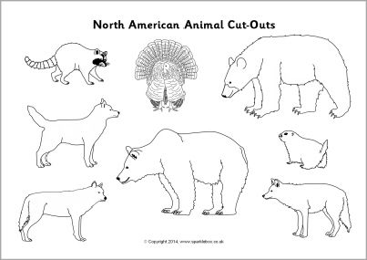North American animal cut-outs - black and white (SB10341) - SparkleBox