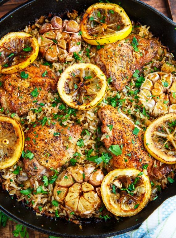 Photo of One Pan Greek Lemon Chicken Rice with Roast Garlic