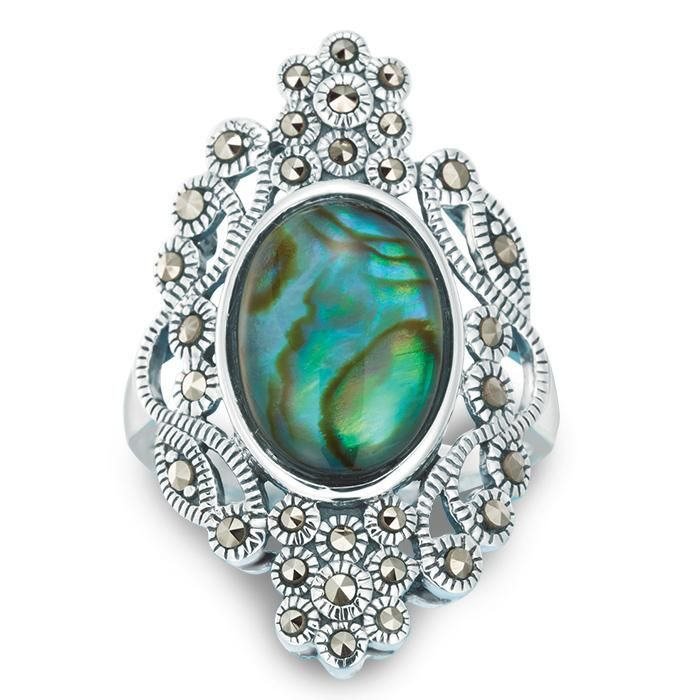 Sterling Silver Large Abalone Ring Stunning Vintage