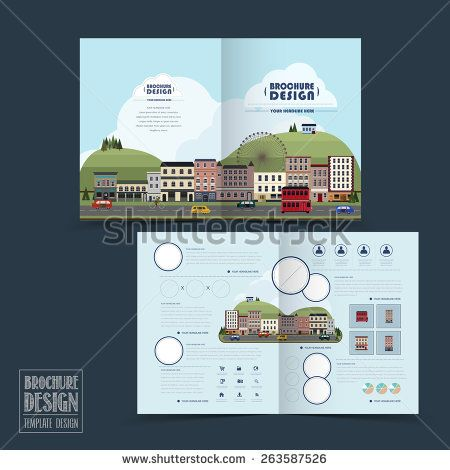 adorable town scenery half-fold brochure template in flat design - half fold brochure template