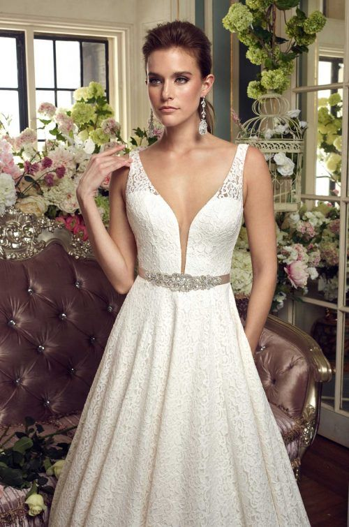 Lace Ball Gown Wedding Dress - Style #2167 | Mikaella bridal, Lace ...