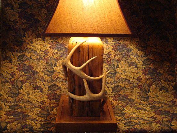 Barnwood And Deer Antler Lamp