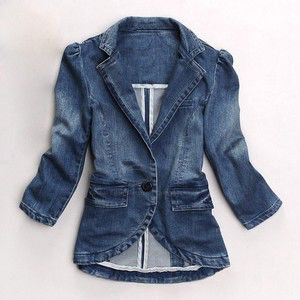 248f50f9 3/4 sleeves. Fitted women's jacket. Small puff shoulders. Singular large  round button as fastening. Collar extending down through to the overlap of  the ...