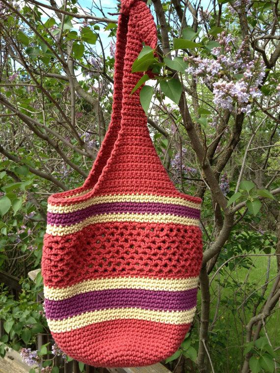 Crocheted Market Bag With Adjustable Handles Pattern Crochet