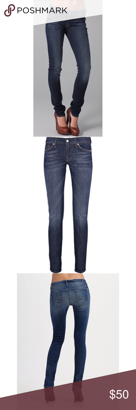 """Seven skinny jeans Roxanne fit size 27 These skinny jeans feature 5-pocket styling and a single-button closure. Stitching at back pockets and whiskering at front. Mild distressing. 12"""" leg opening.   * 7.5"""" rise. 34"""" inseam. * Fabrication: Stretch denim. * 98% cotton/2% spandex. * Wash cold. * Made in the USA. Seven7 Jeans Skinny"""