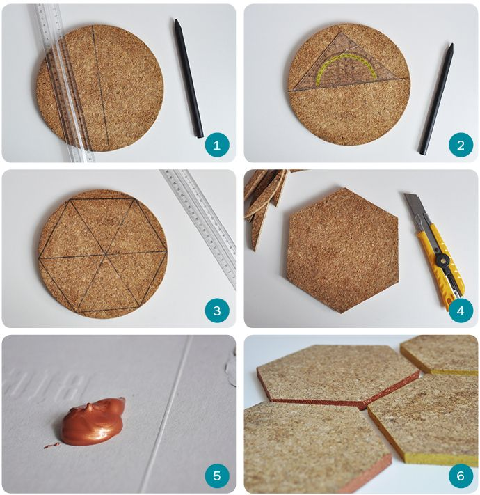 DIY geometric Cork coasters by Team Confetti. www.teamconfetti.nl