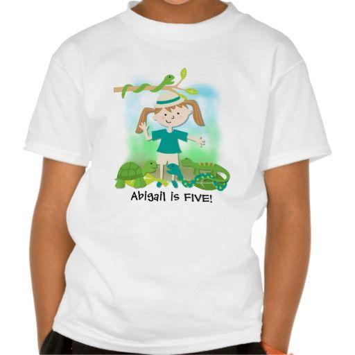 Blond Girl Safari Birthday Customized Tshirt