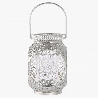 Brocade Lantern 13x21 Cms Lanterns Metallic Silver Silver