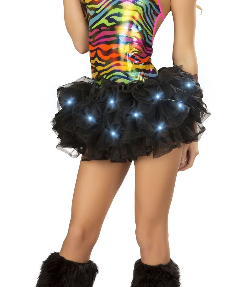 black light up tutu led lights halloween costume petticoat rave party new years - Halloween Petticoat
