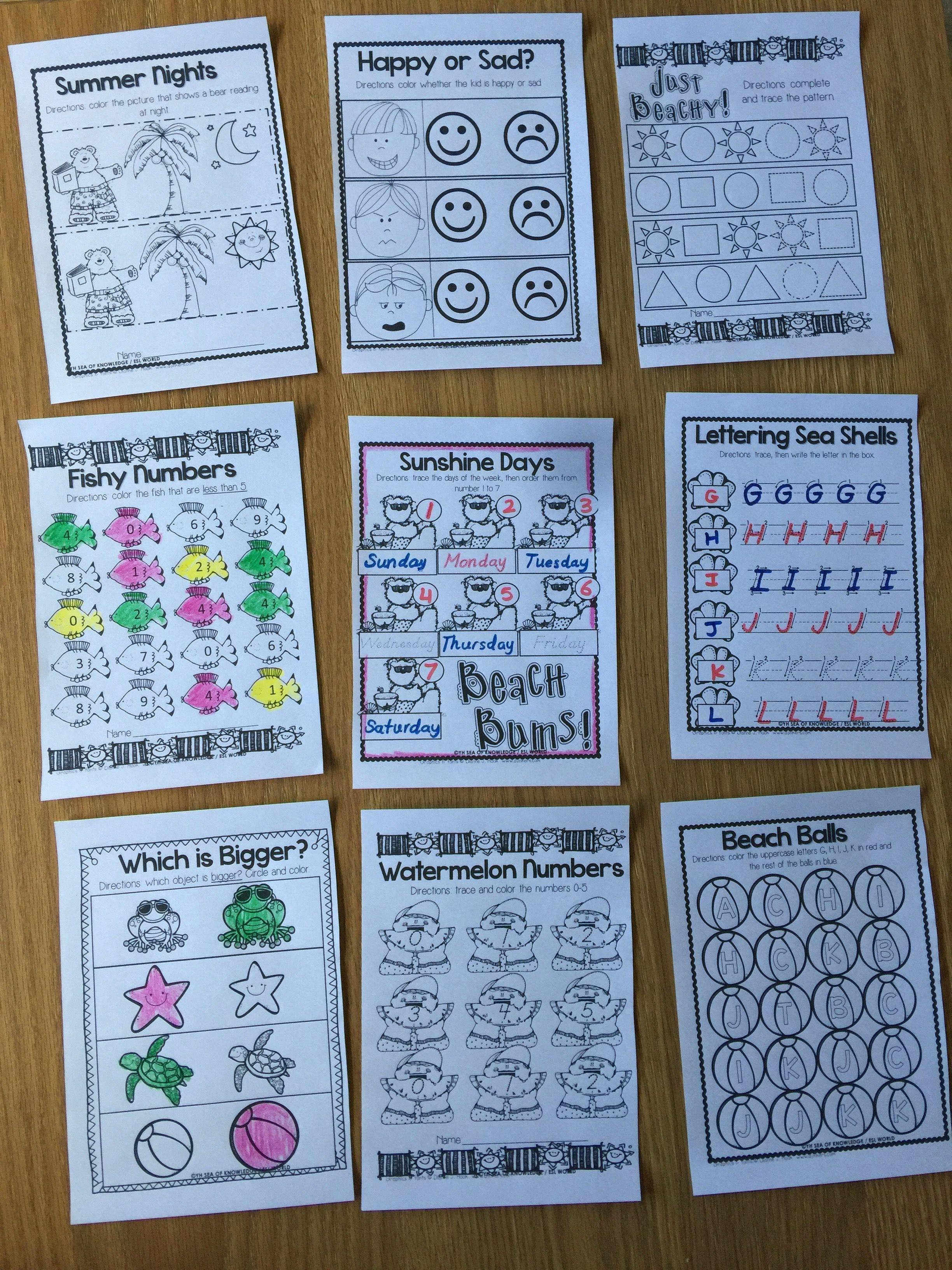 Summer Preschool Back to School Kindergarten Printables | Pinterest ...
