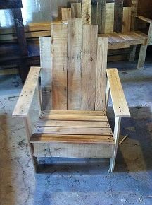 pallet adirondack chair, diy, painted furniture, pallet