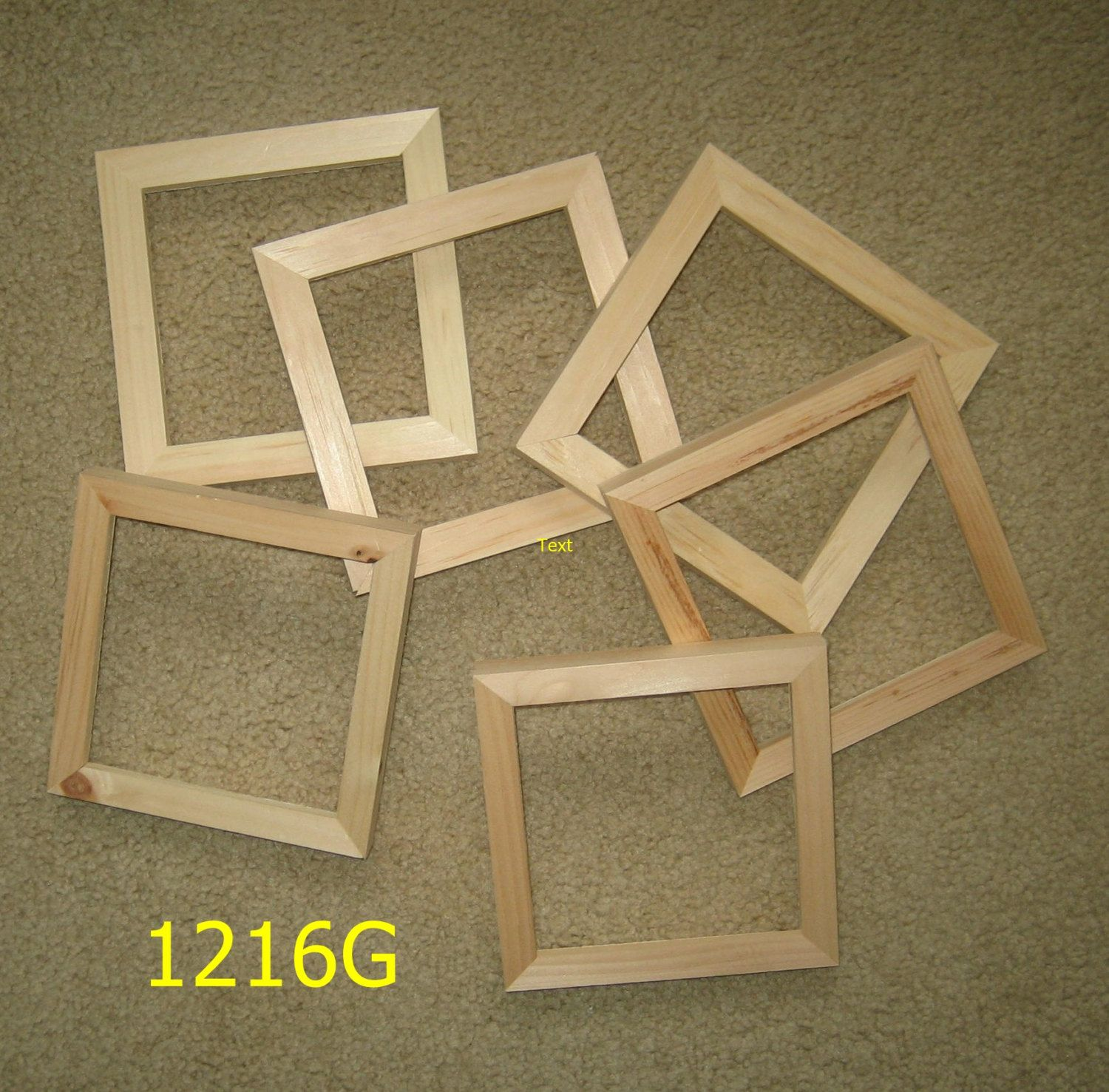6 square 5x5 unfinished wood picture frames (my no.1216G)