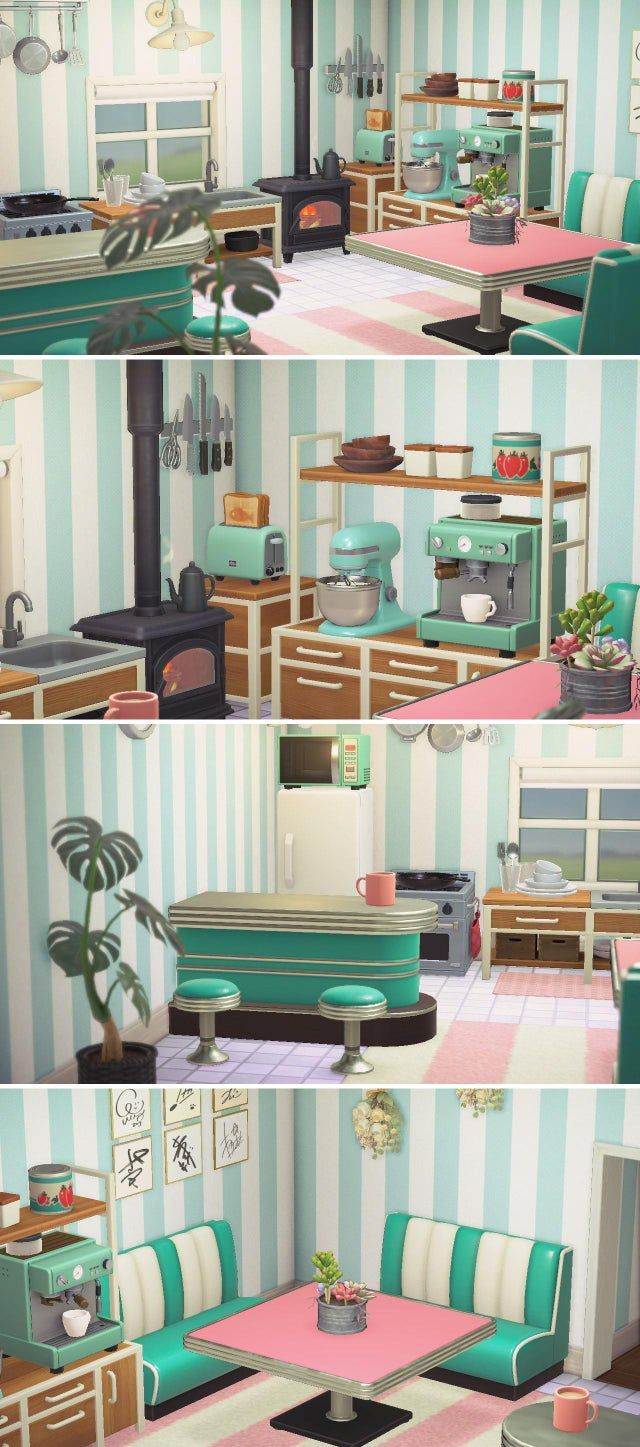 My pink & teal kitchen! - AnimalCrossing in 2020 | Animal ... on Animal Crossing Kitchen Island  id=94909