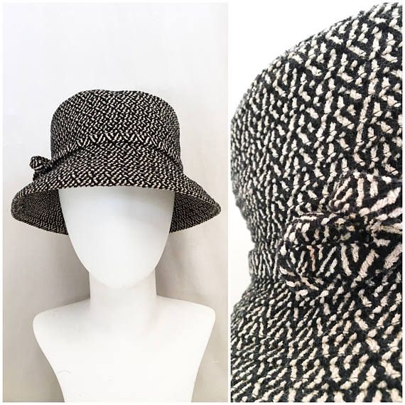 90cb57f3 1960s Bucket Hat // 60s Mod Black and White Herringbone Tweed Wool ...
