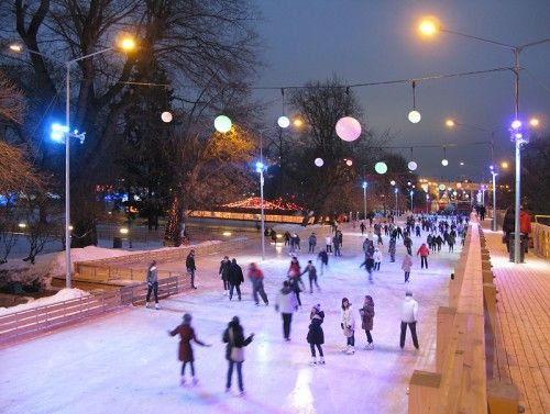 Ice skating in Gorky Park - Moscow