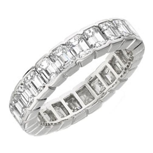 Wedding Band Emerald Cut Diamond Eternity Anniversary F Vs 5 00 Tcw In 14k White Gold 10