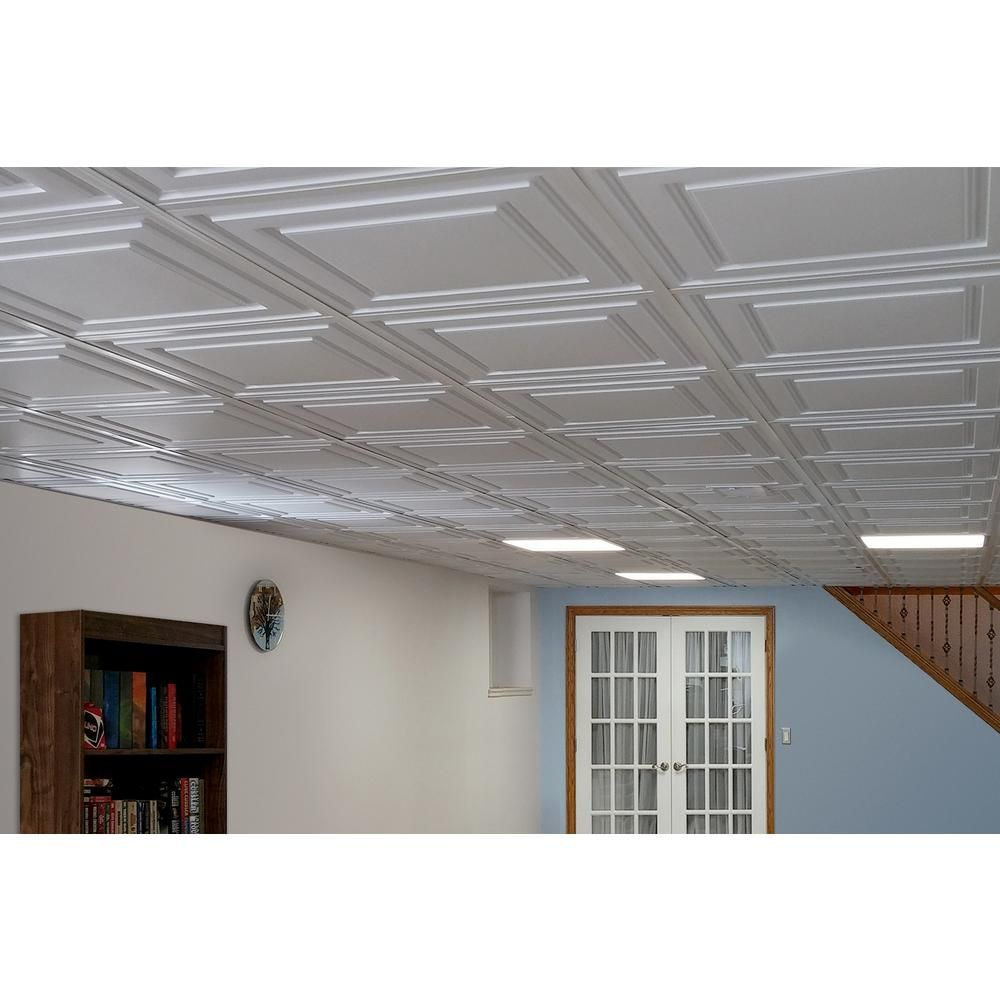 Ceilume Stratford Feather Light White 2 Ft X 4 Ft Lay In Ceiling Panel Case Of 10 V1 Str 24wto 10 Ceiling Panels Decorative Ceiling Panels Feather Light